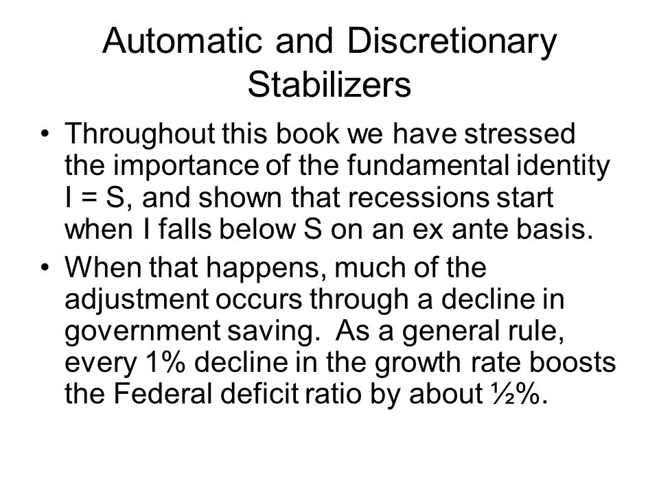 Automatic and Discretionary Stabilizers