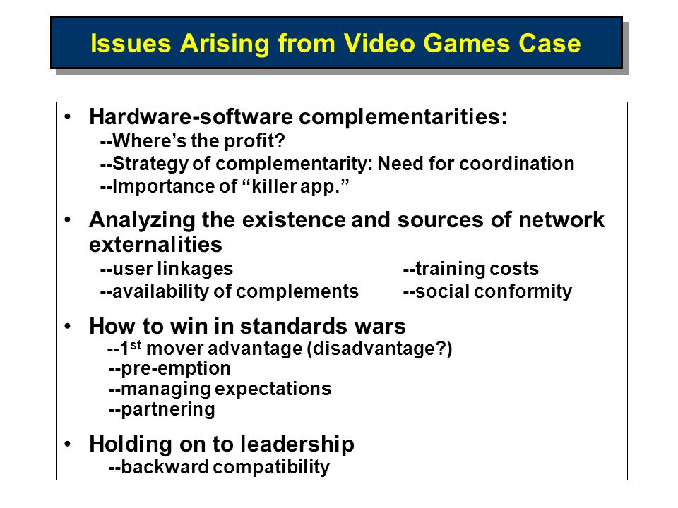 Issues Arising from Video Games Case