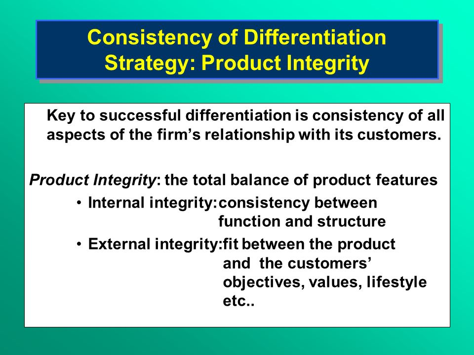 Consistency of Differentiation Strategy: Product Integrity