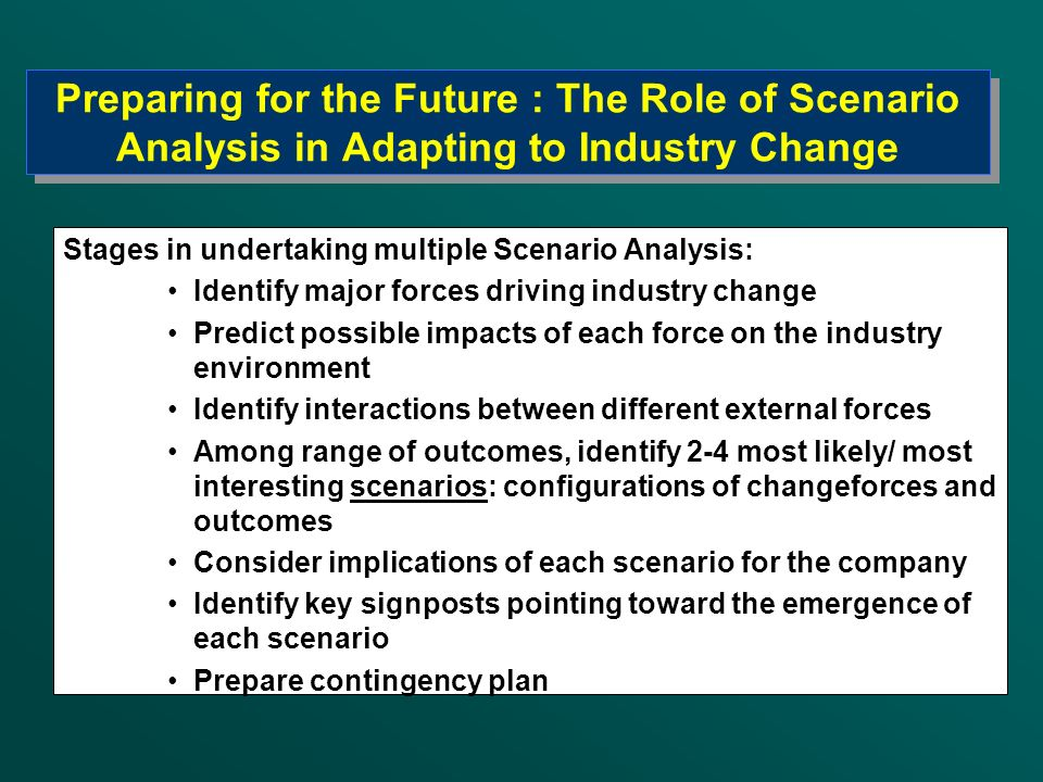 Preparing for the Future : The Role of Scenario Analysis in Adapting to Industry Change
