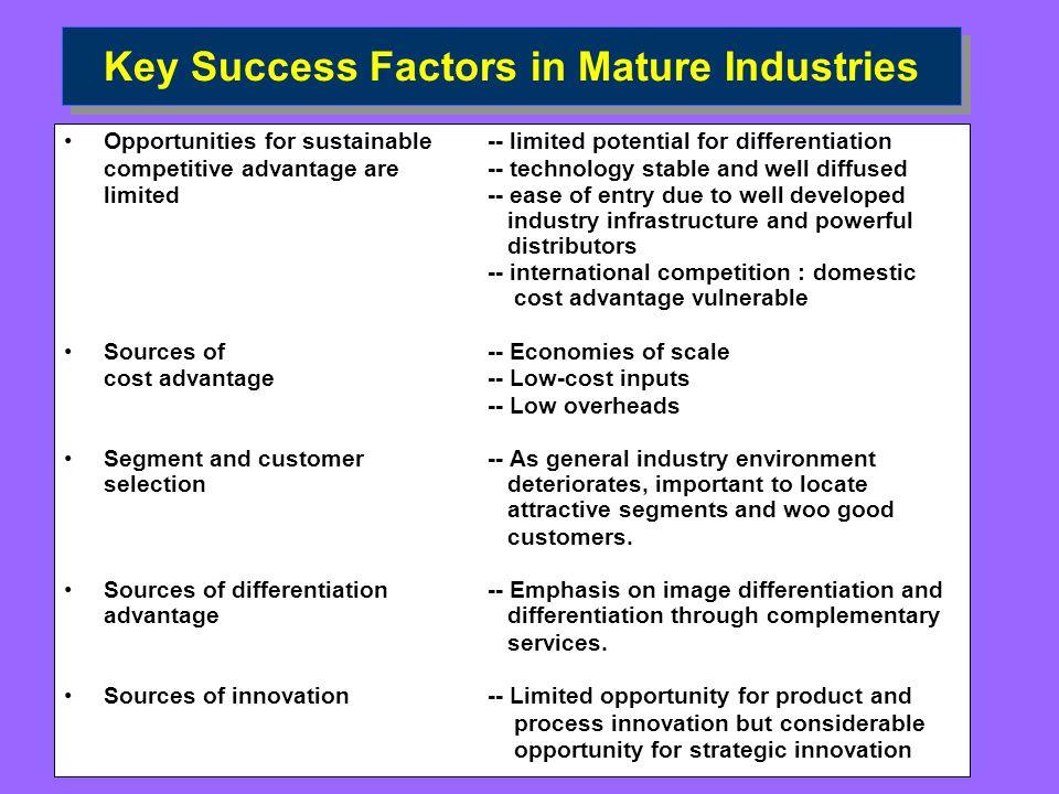 Key Success Factors in Mature Industries