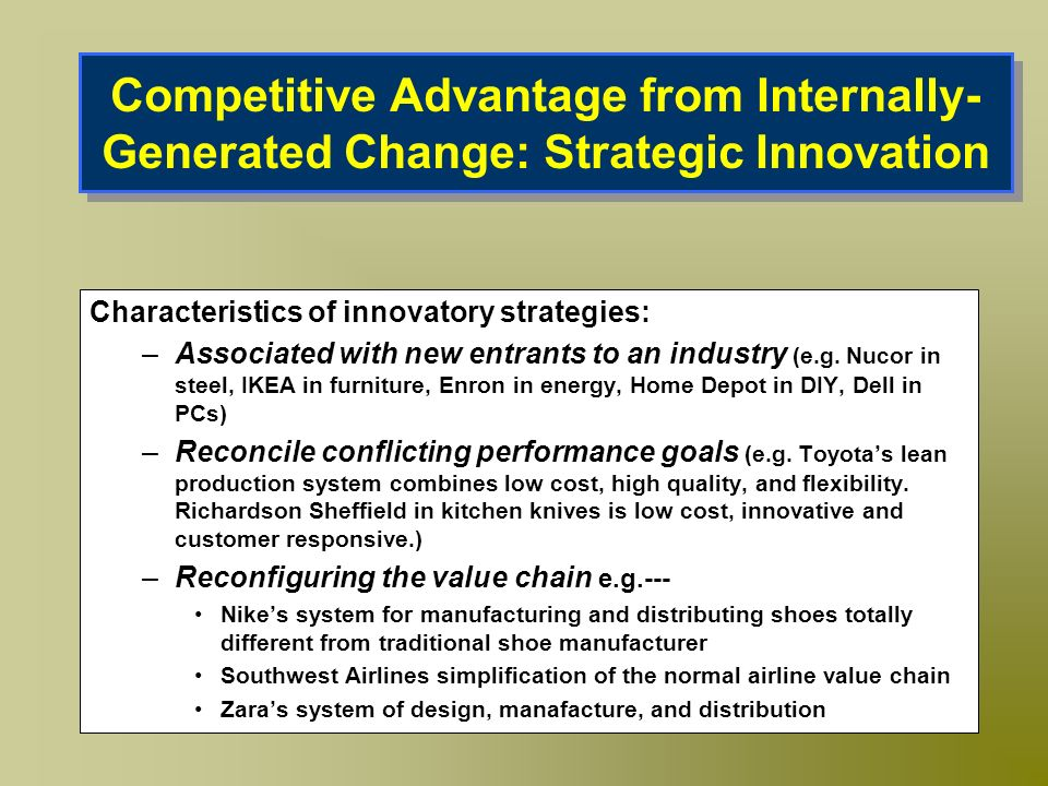 Competitive Advantage from Internally-Generated Change: Strategic Innovation