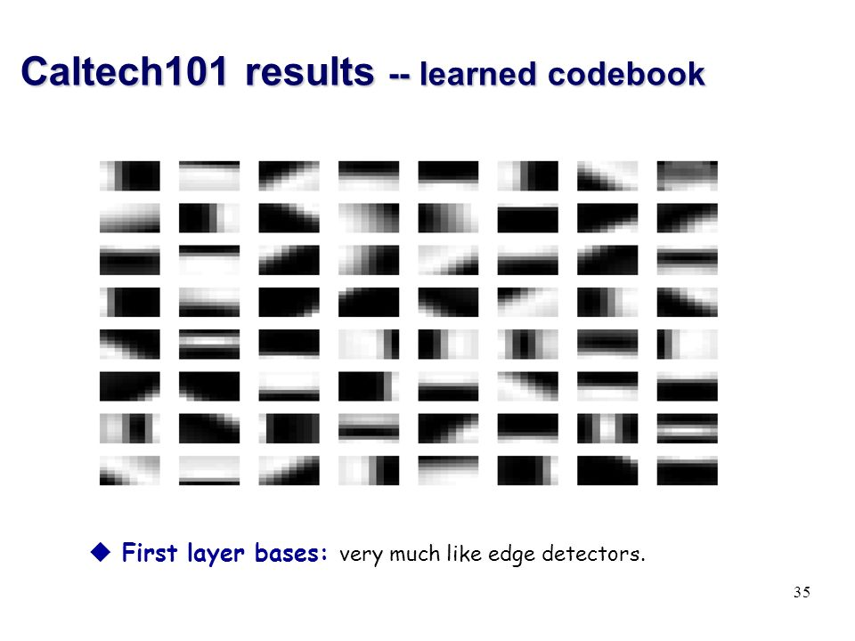 Caltech101 results -- learned codebook