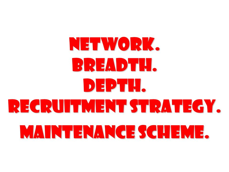 network. Breadth. Depth. Recruitment strategy. Maintenance scheme.