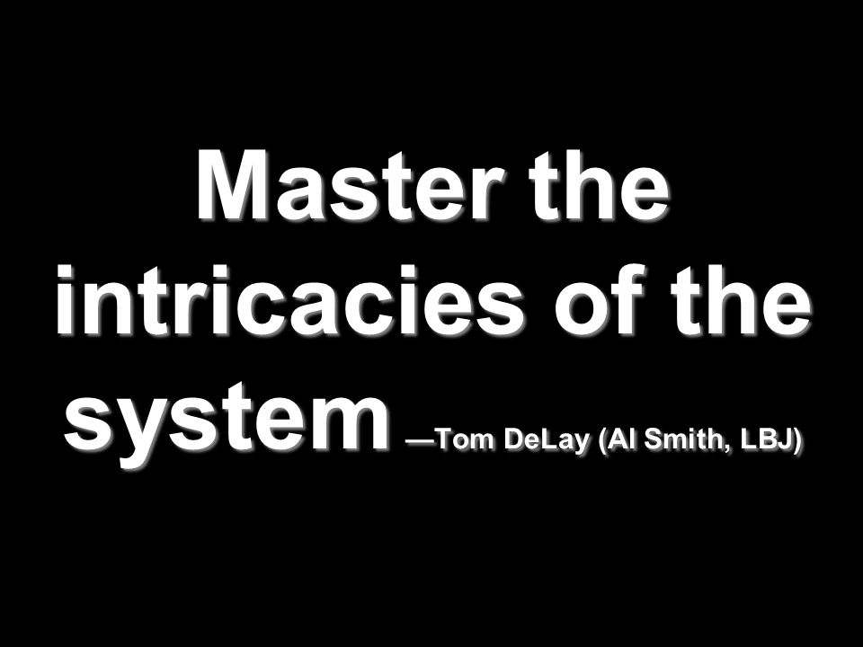 Master the intricacies of the system —Tom DeLay (Al Smith, LBJ)