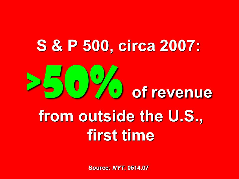 S & P 500, circa 2007: >50% of revenue from outside the U. S