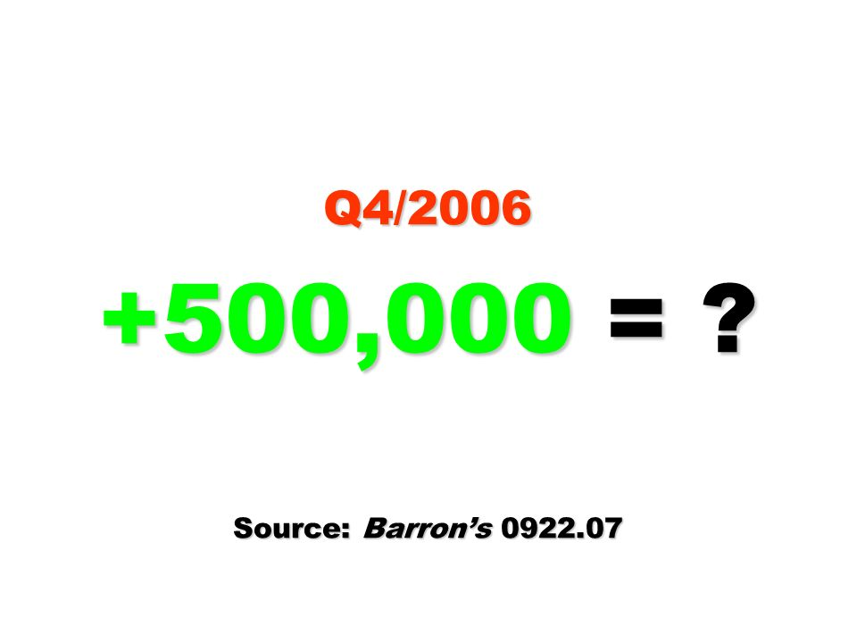 Q4/2006 +500,000 = Source: Barron's 0922.07