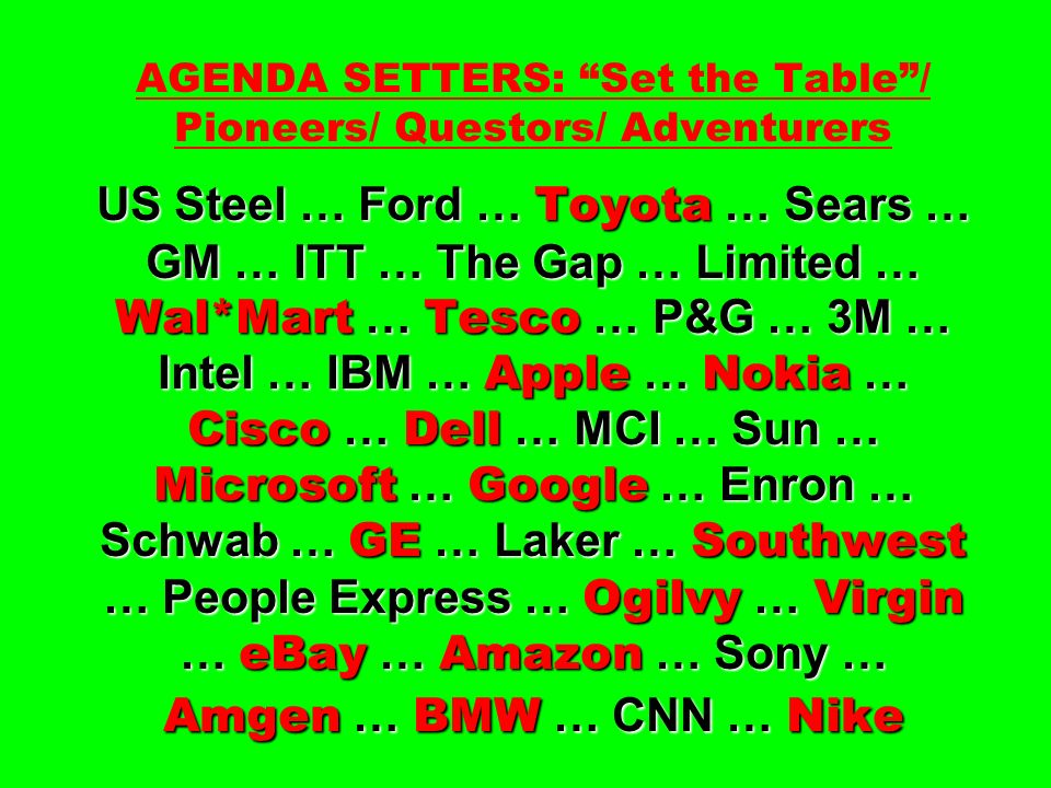 AGENDA SETTERS: Set the Table / Pioneers/ Questors/ Adventurers US Steel … Ford … Toyota … Sears … GM … ITT … The Gap … Limited … Wal*Mart … Tesco … P&G … 3M … Intel … IBM … Apple … Nokia … Cisco … Dell … MCI … Sun … Microsoft … Google … Enron … Schwab … GE … Laker … Southwest … People Express … Ogilvy … Virgin … eBay … Amazon … Sony … Amgen … BMW … CNN … Nike