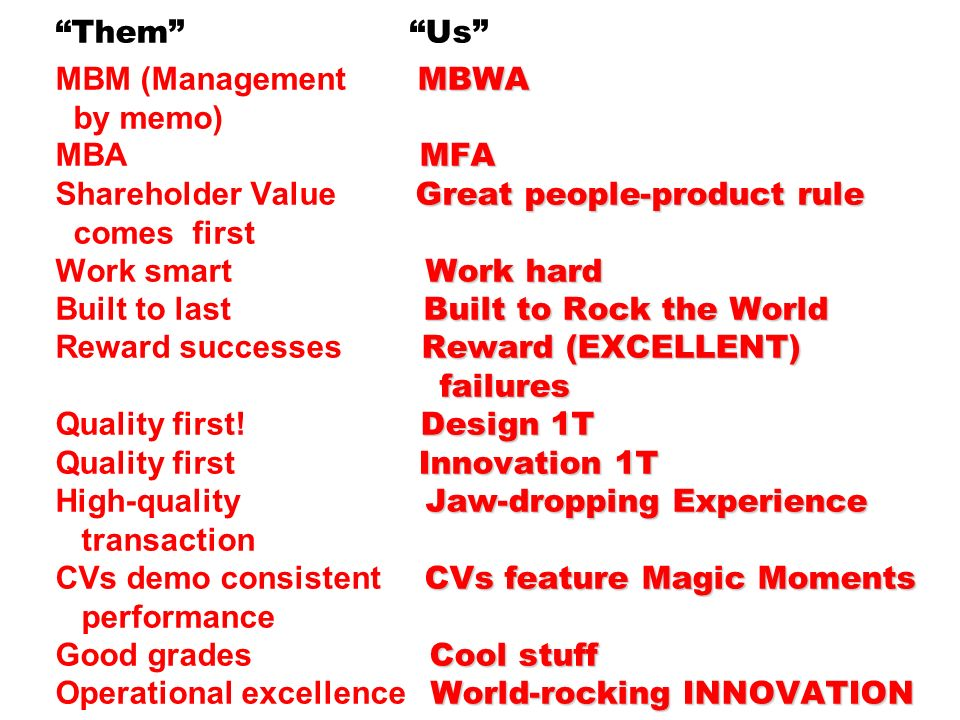 Them Us MBM (Management MBWA by memo) MBA MFA Shareholder Value Great people-product rule comes first Work smart Work hard Built to last Built to Rock the World Reward successes Reward (EXCELLENT) failures Quality first.