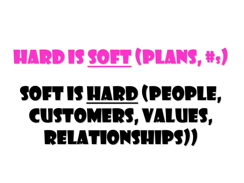 Hard Is Soft (Plans, #s) Soft Is Hard (people, customers, values, relationships))