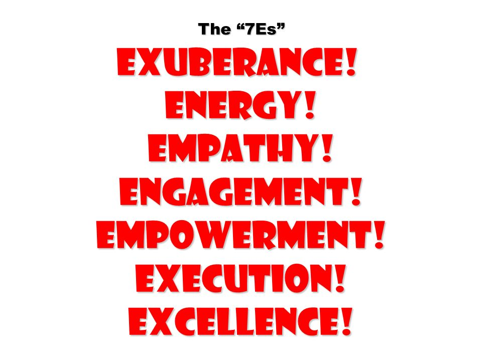 The 7Es Exuberance! Energy! Empathy! Engagement! Empowerment! Execution! Excellence!