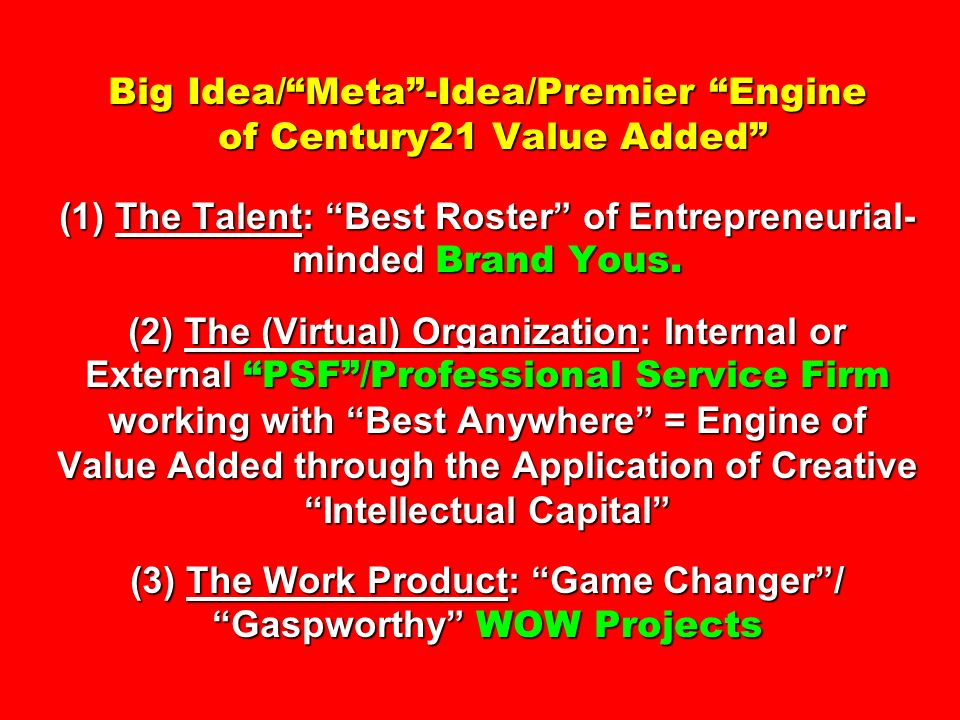 Big Idea/ Meta -Idea/Premier Engine of Century21 Value Added (1) The Talent: Best Roster of Entrepreneurial-minded Brand Yous.