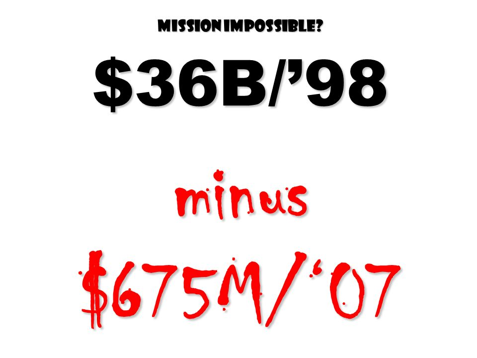 Mission impossible $36B/'98 minus $675M/'07
