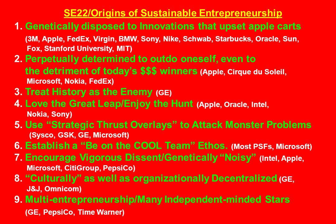 SE22/Origins of Sustainable Entrepreneurship