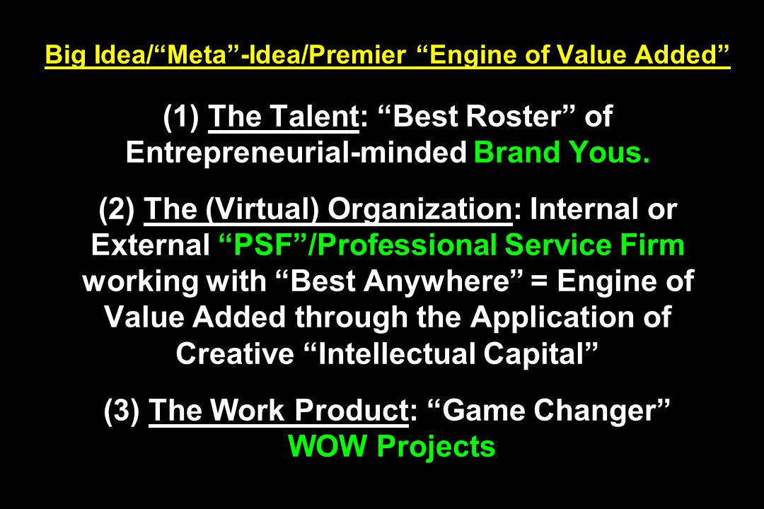 Big Idea/ Meta -Idea/Premier Engine of Value Added (1) The Talent: Best Roster of Entrepreneurial-minded Brand Yous.