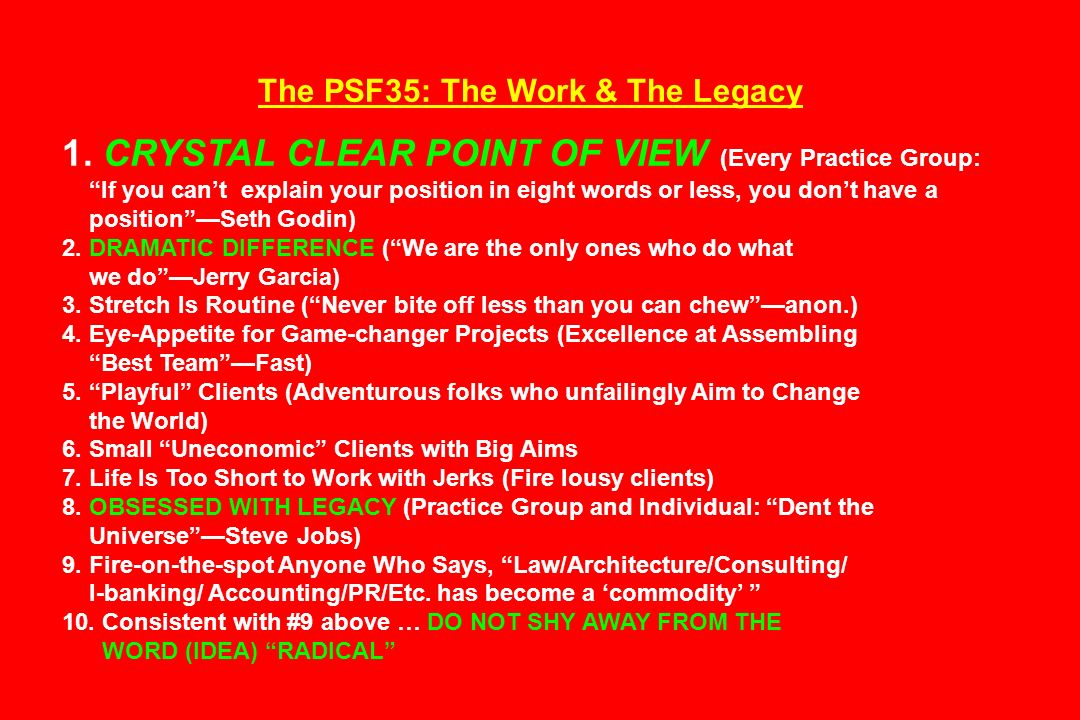 The PSF35: The Work & The Legacy 1