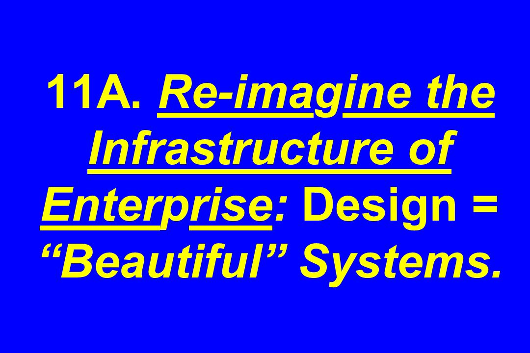 11A. Re-imagine the Infrastructure of Enterprise: Design = Beautiful Systems.
