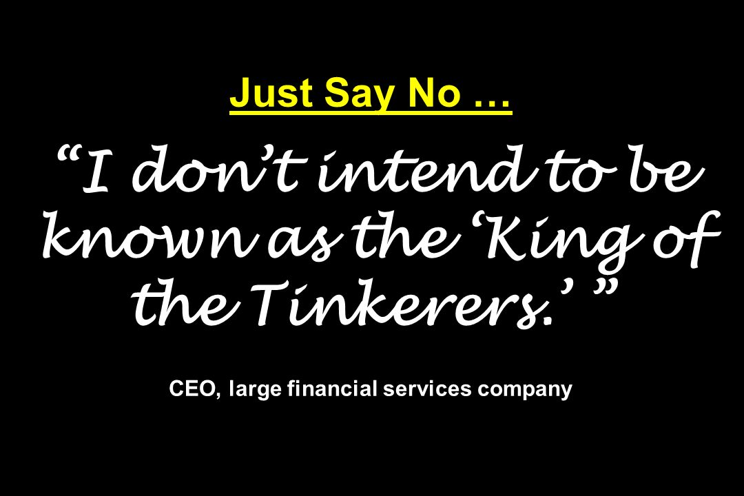 Just Say No … I don't intend to be known as the 'King of the Tinkerers.' CEO, large financial services company
