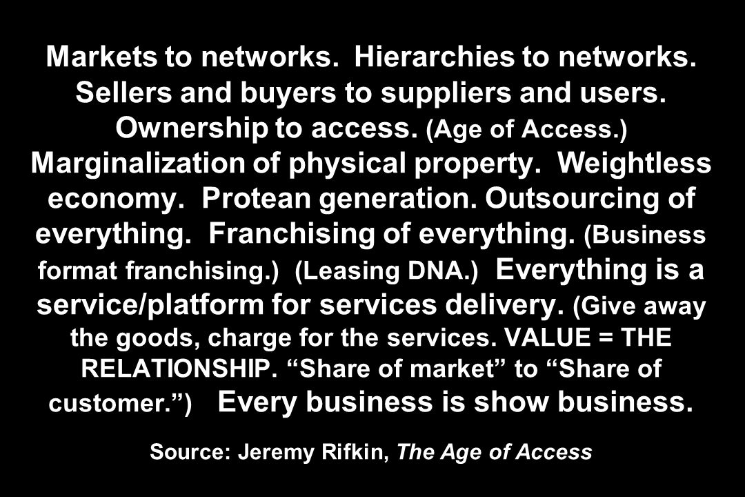 Markets to networks. Hierarchies to networks