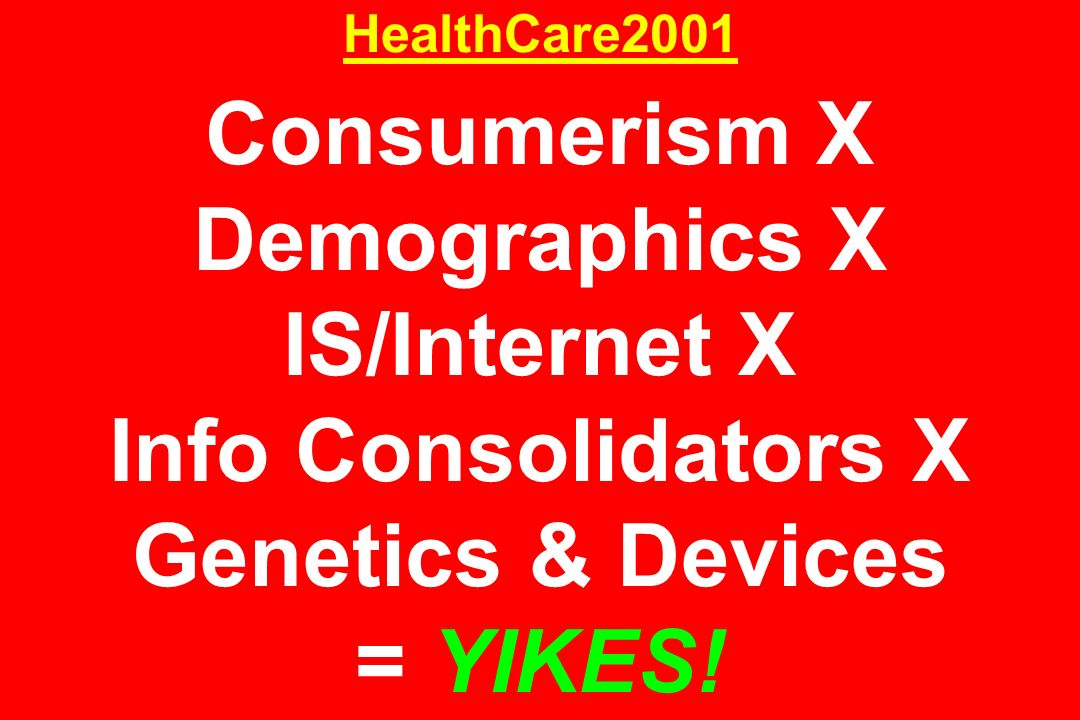 HealthCare2001 Consumerism X Demographics X IS/Internet X Info Consolidators X Genetics & Devices = YIKES!
