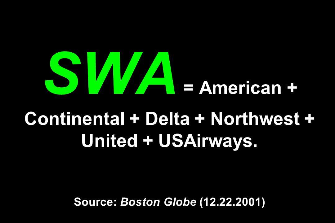 SWA = American + Continental + Delta + Northwest + United + USAirways