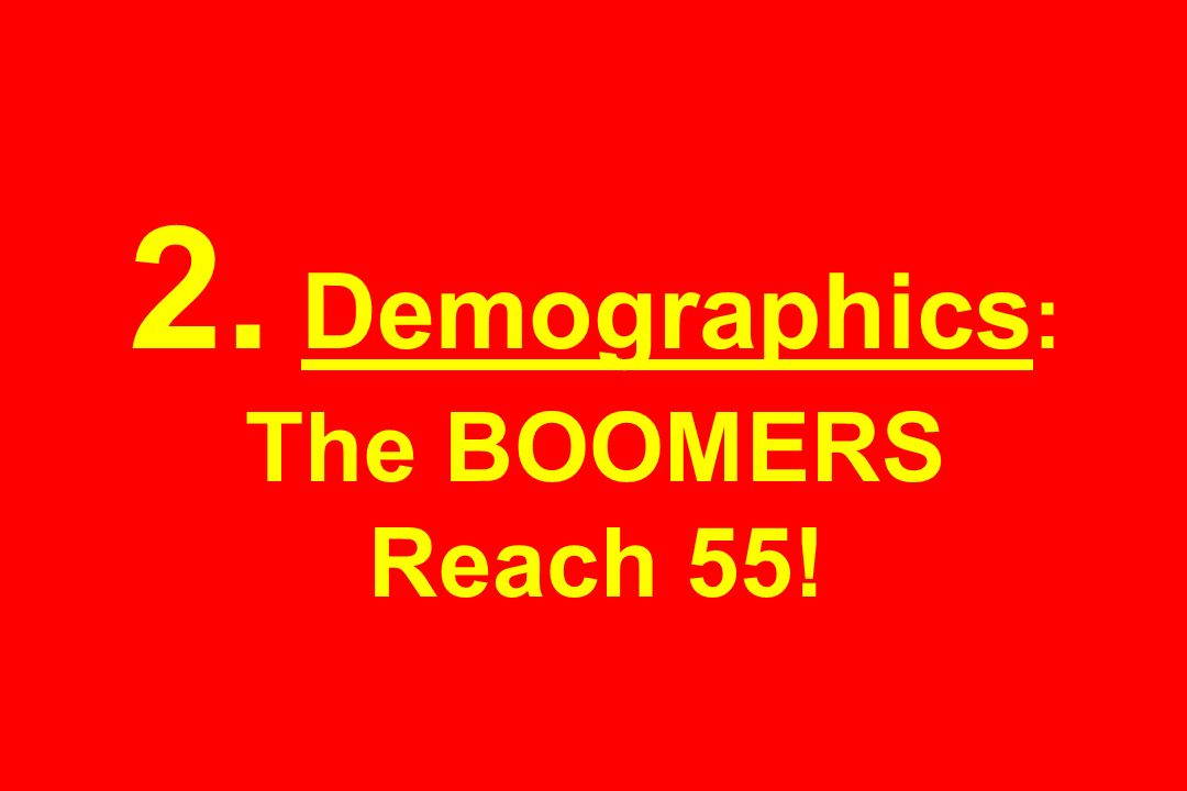 2. Demographics: The BOOMERS Reach 55!