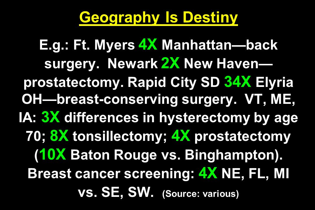 Geography Is Destiny E. g. : Ft. Myers 4X Manhattan—back surgery