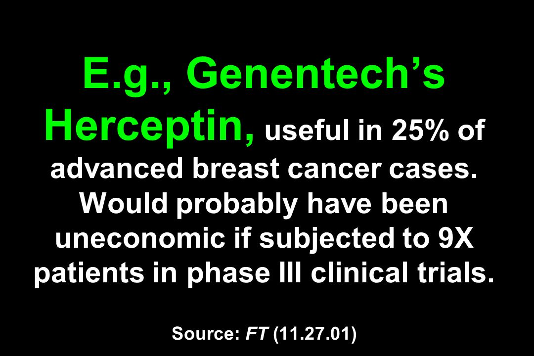 E.g., Genentech's Herceptin, useful in 25% of advanced breast cancer cases.