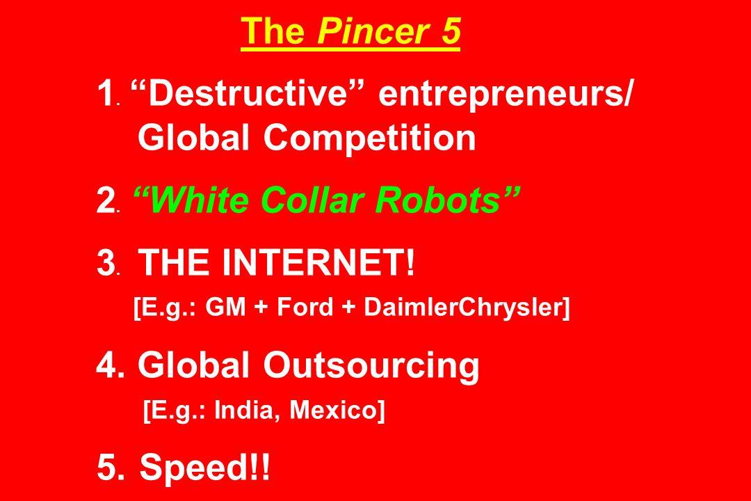 The Pincer 5 1. Destructive entrepreneurs/ Global Competition 2