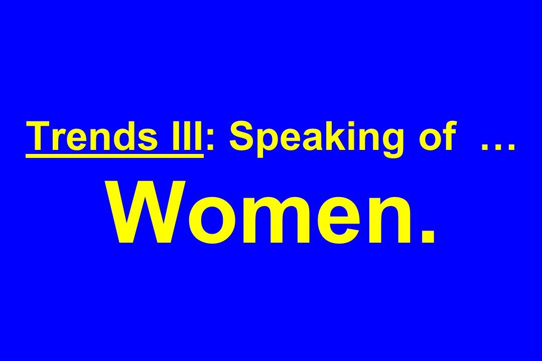 Trends III: Speaking of … Women.