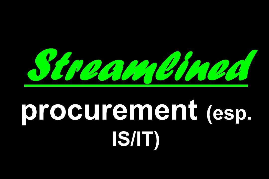 Streamlined procurement (esp. IS/IT)