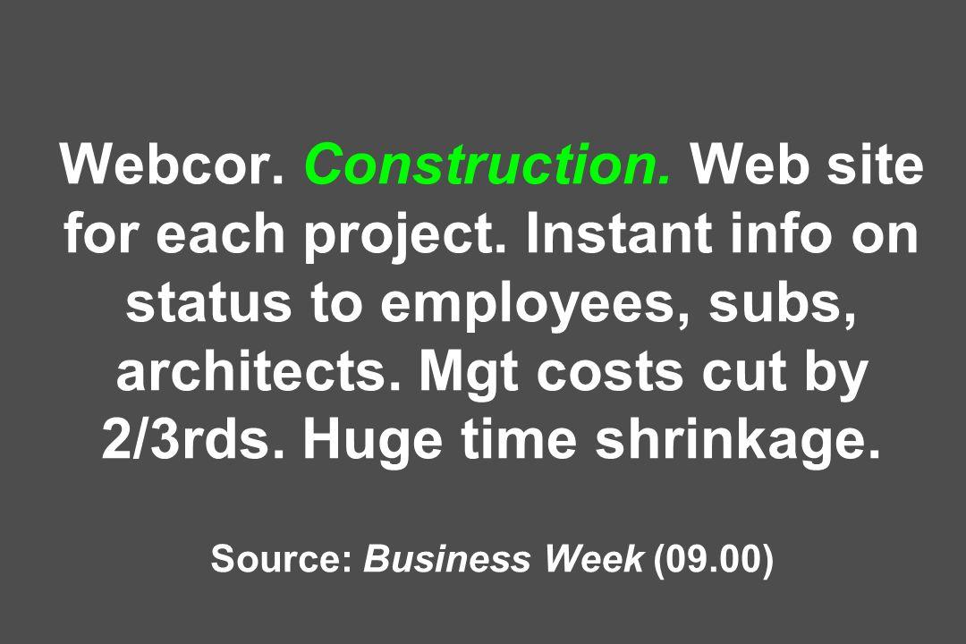 Webcor. Construction. Web site for each project