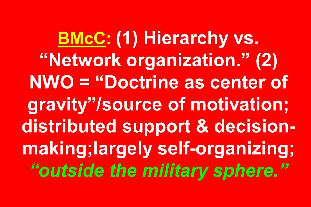 BMcC: (1) Hierarchy vs. Network organization