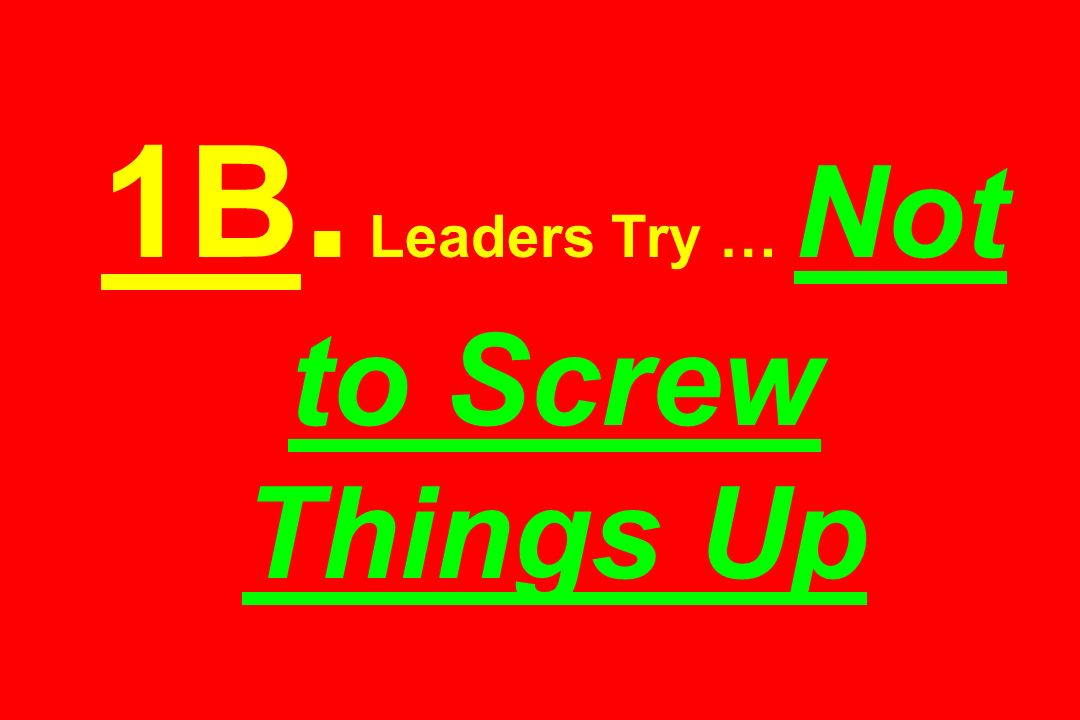 1B. Leaders Try … Not to Screw Things Up