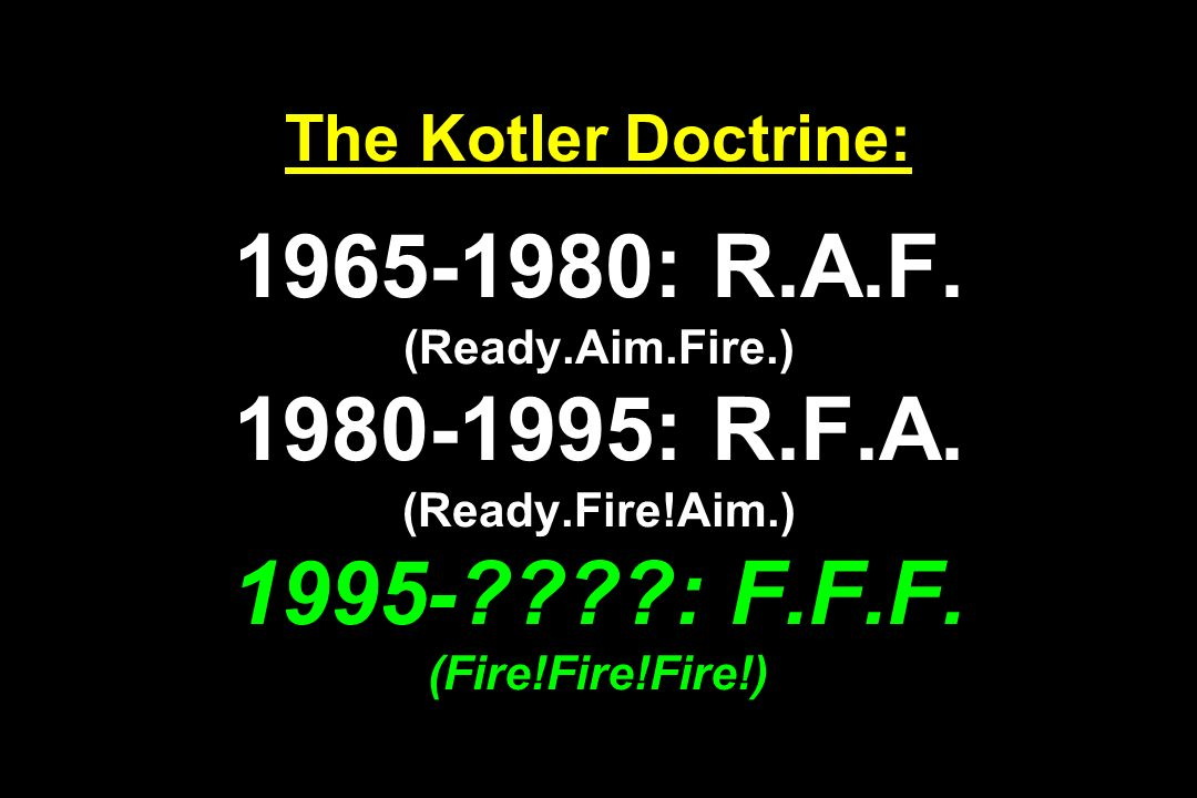 The Kotler Doctrine: 1965-1980: R. A. F. (Ready. Aim. Fire