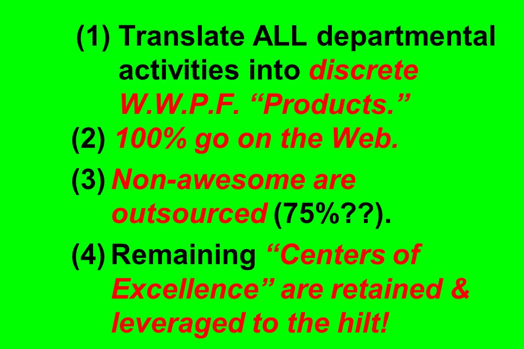 (1) Translate ALL departmental activities into discrete W. W. P. F