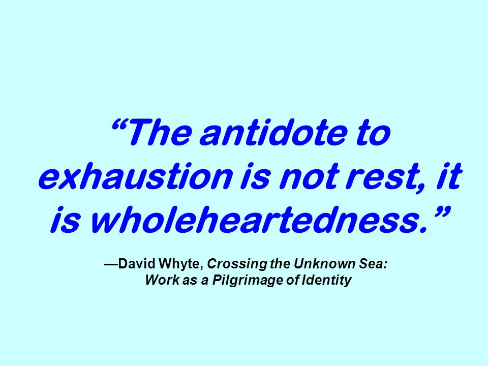 The antidote to exhaustion is not rest, it is wholeheartedness