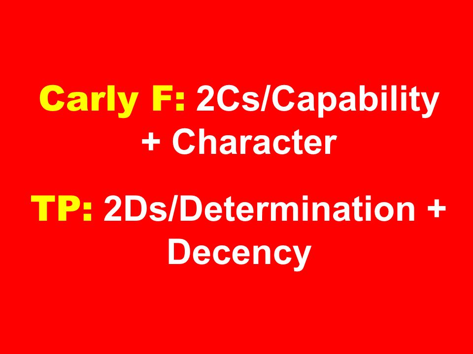 Carly F: 2Cs/Capability + Character TP: 2Ds/Determination + Decency