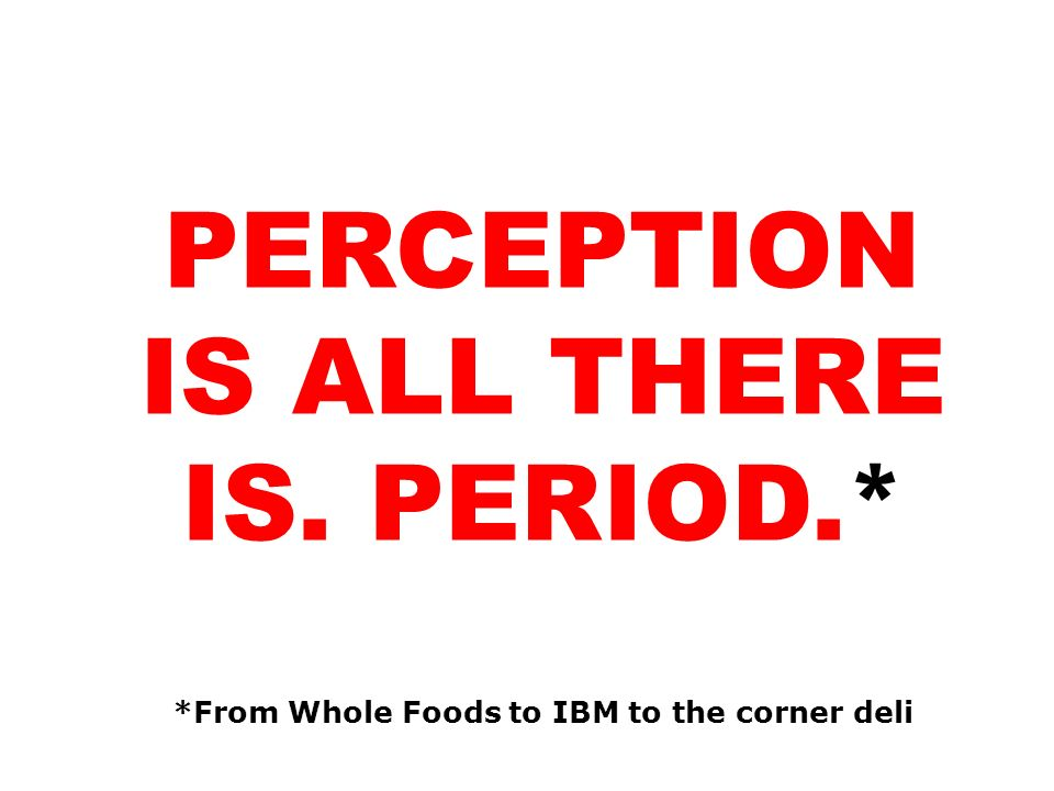 PERCEPTION IS ALL THERE IS. PERIOD.*