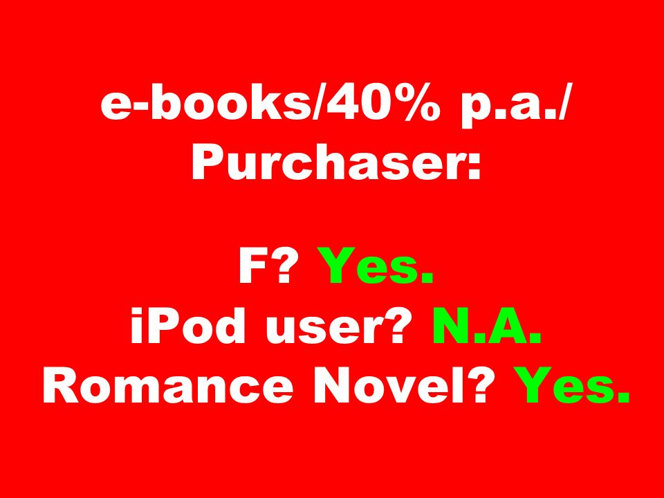 e-books/40% p. a. / Purchaser: F. Yes. iPod user. N. A. Romance Novel