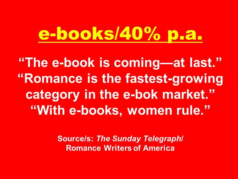 e-books/40% p. a. The e-book is coming—at last