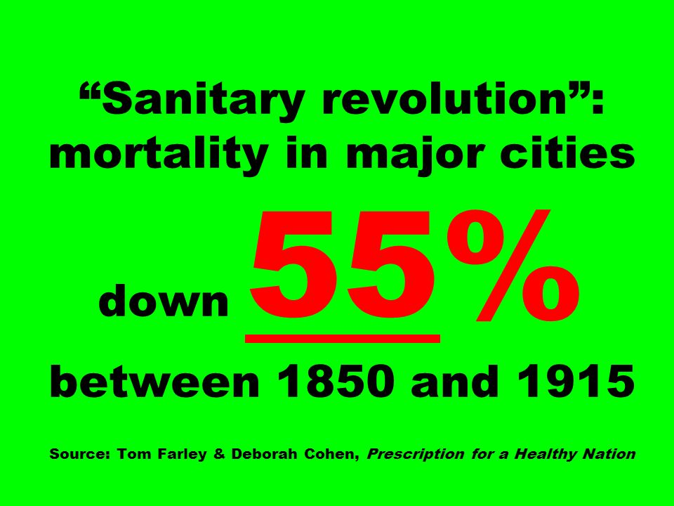Sanitary revolution : mortality in major cities down 55% between 1850 and 1915 Source: Tom Farley & Deborah Cohen, Prescription for a Healthy Nation
