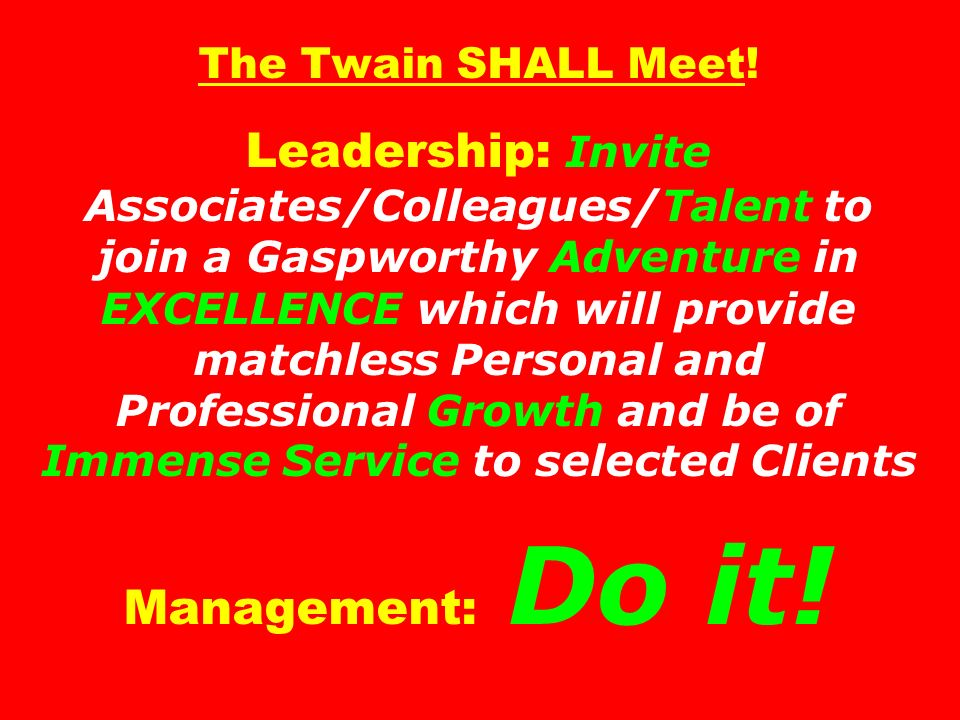 The Twain SHALL Meet.