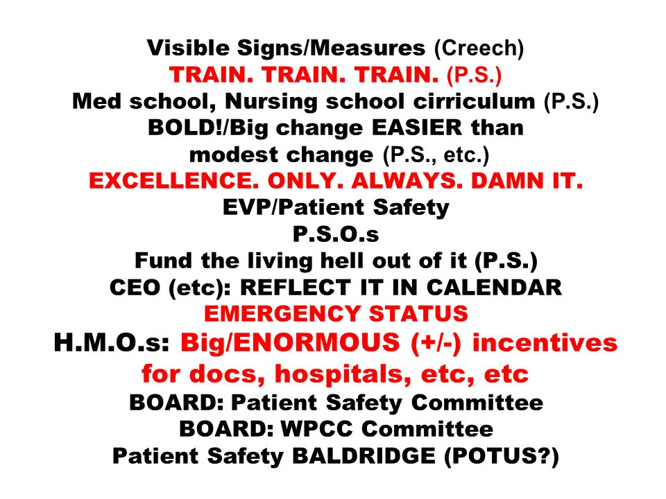 Visible Signs/Measures (Creech) TRAIN. TRAIN. TRAIN. (P. S