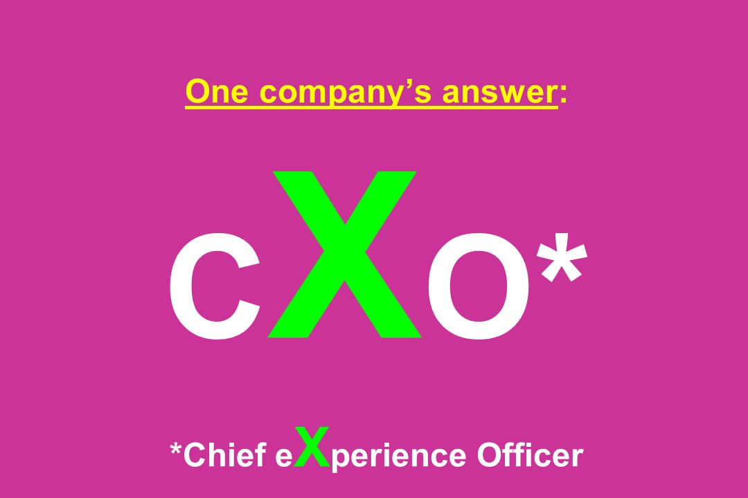 One company's answer: CXO* *Chief eXperience Officer