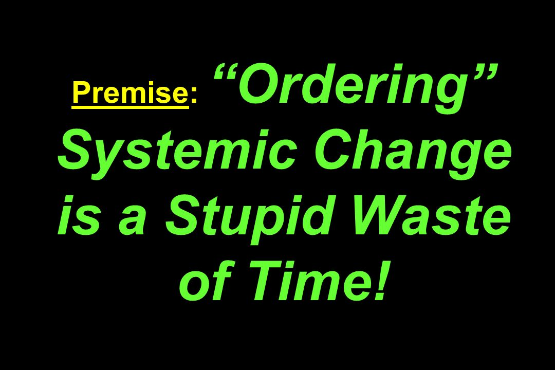 Premise: Ordering Systemic Change is a Stupid Waste of Time!