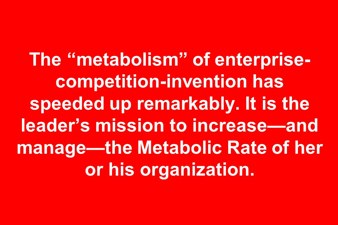 The metabolism of enterprise-competition-invention has speeded up remarkably.