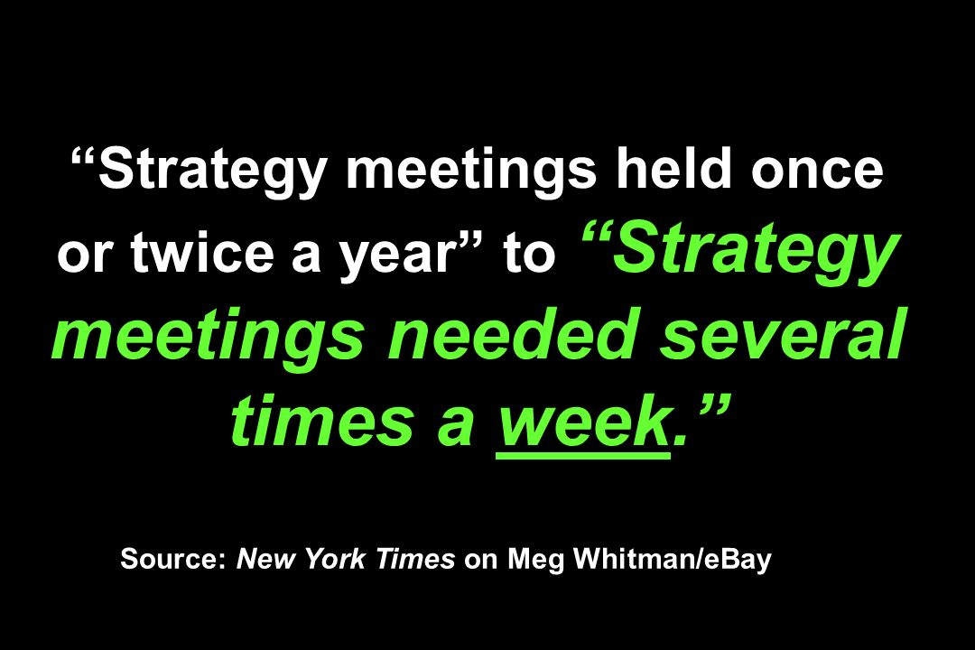 Strategy meetings held once or twice a year to Strategy meetings needed several times a week.