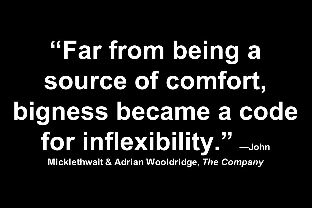 Far from being a source of comfort, bigness became a code for inflexibility. —John Micklethwait & Adrian Wooldridge, The Company