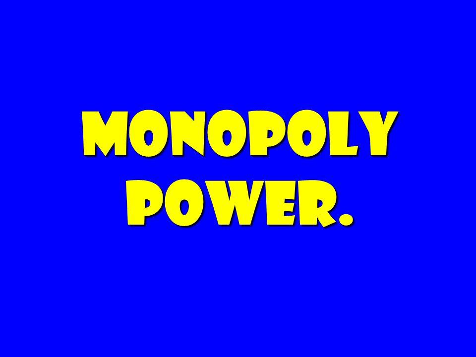 Monopoly Power. 166 166